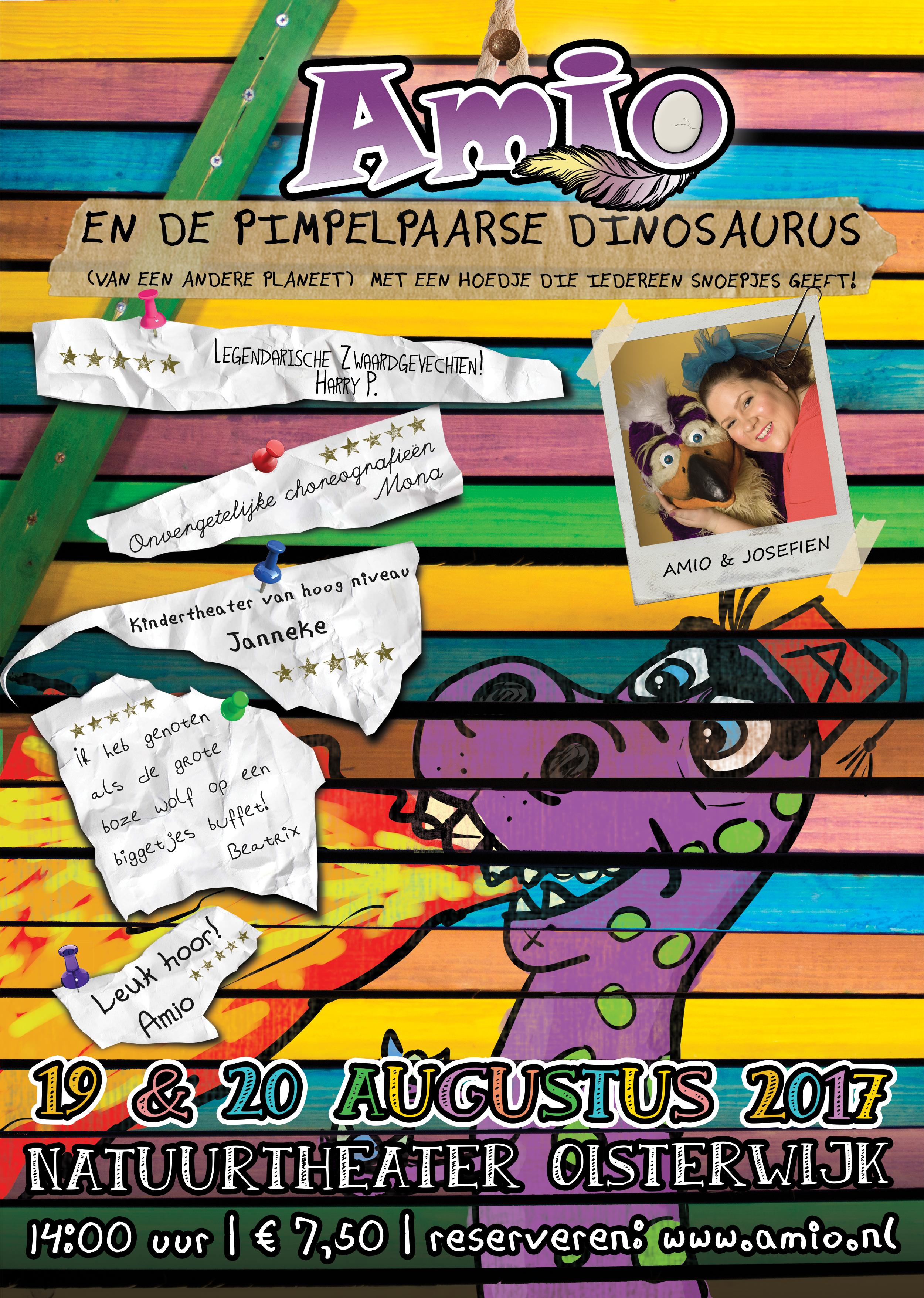 Amio en De Pimpelpaarse Dinosaurus (van een andere planeet) met een hoedje die iedereen snoepjes geeft!